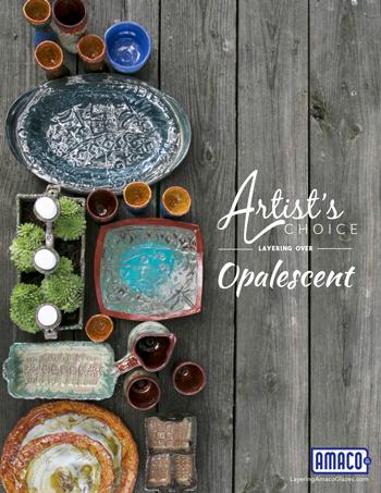 Amaco Artist Choice glazes layered with Opalescent Glazes