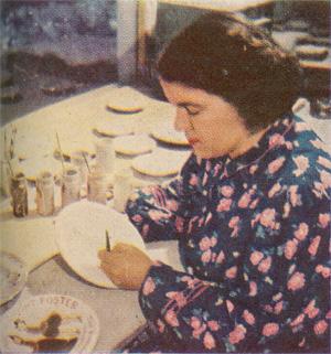Marie Cowen Glazing Pottery