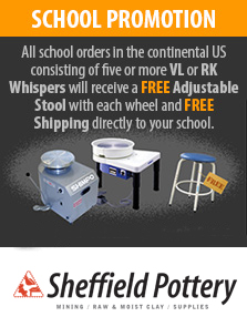 Shimpo POtters wheels free stools for schools promo