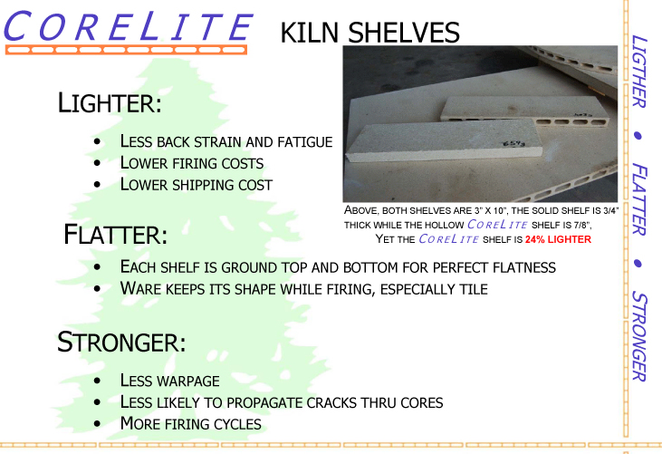 Semi Hollow CoreLite Kiln Shelves info