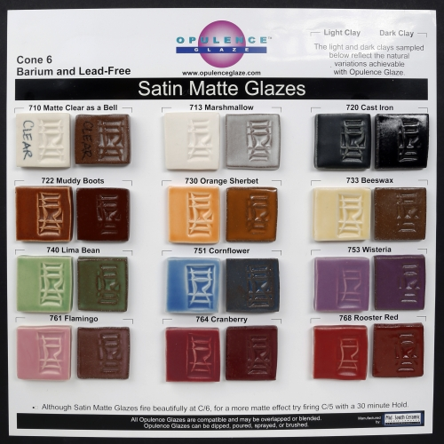Opulence Satin Matte Glazes from Mid-South Cone 6