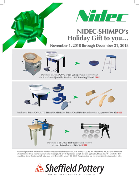 Shimpo Pottery Wheels Holiday Promo