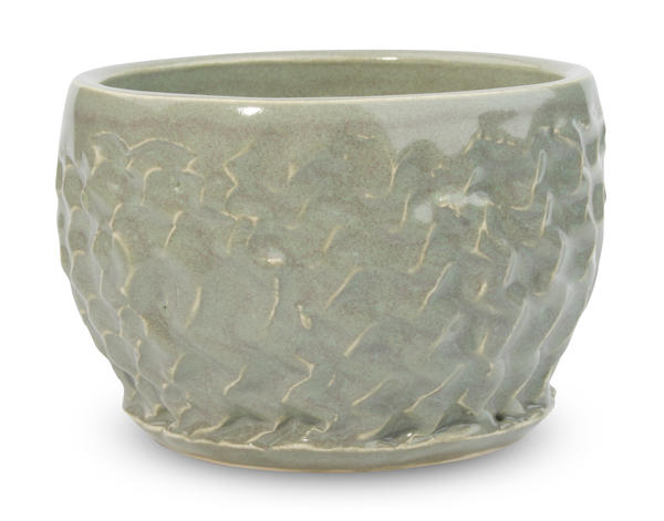 PC-44 Amaco Potter's Choice Sage Pint over textured clay
