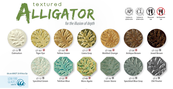 Amaco LT Textured Alligator Glazes
