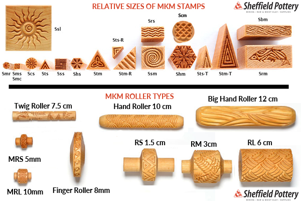 MKM Pottery Stamps and Rollers Sizes
