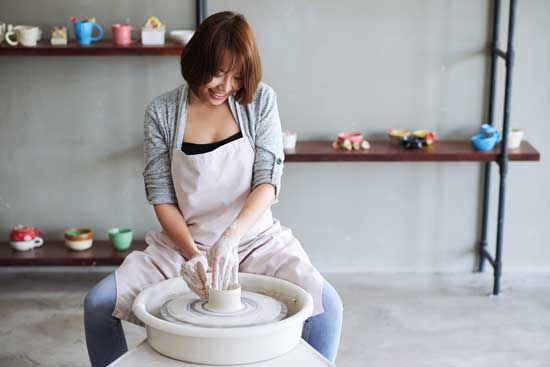 Pottery clay on Potters wheel